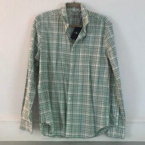 Green and white plaid button down shirt